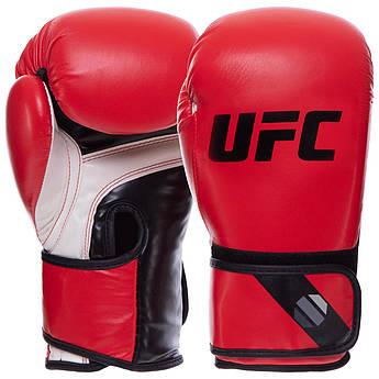 Перчатки боксерские PU на липучке UFC PRO Fitness (PU, р-р 12oz, красный)