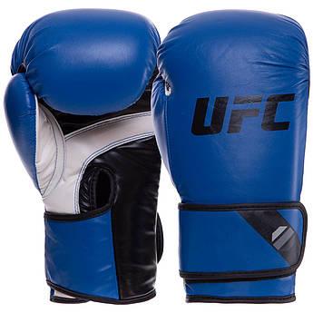 Перчатки боксерские PU на липучке UFC PRO Fitness (PU, р-р 12oz, синий)
