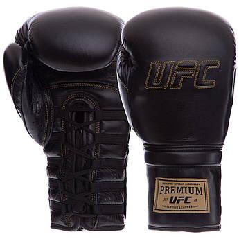 Перчатки боксерские кожаные на липучке UFC PRO Prem Lace Up (р-р 14oz, черный)