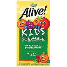"""Мультивітаміни для дітей nature's Way """"Alive! Children's Chewable Multi-Vitamin"""" (120 жувальних цукерок)"""