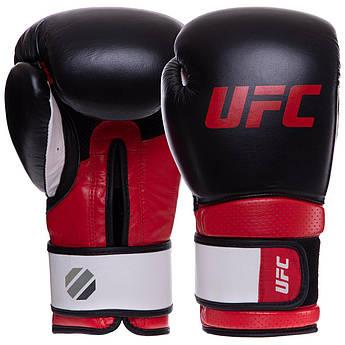 Перчатки боксерские кожаные на липучке UFC PRO Training (р-р 14oz, красный-черный)