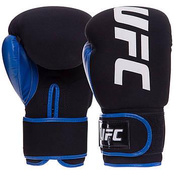 Перчатки боксерские неопреновые на липучке UFC PRO Washable (неопрен, р-р Reg(S-M), синий)