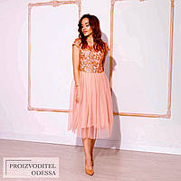 Персикове вечірній ніжне приталена сукня з мереживним верхом і пишною спідницею р. 42-46. Арт-4950/34, фото 1