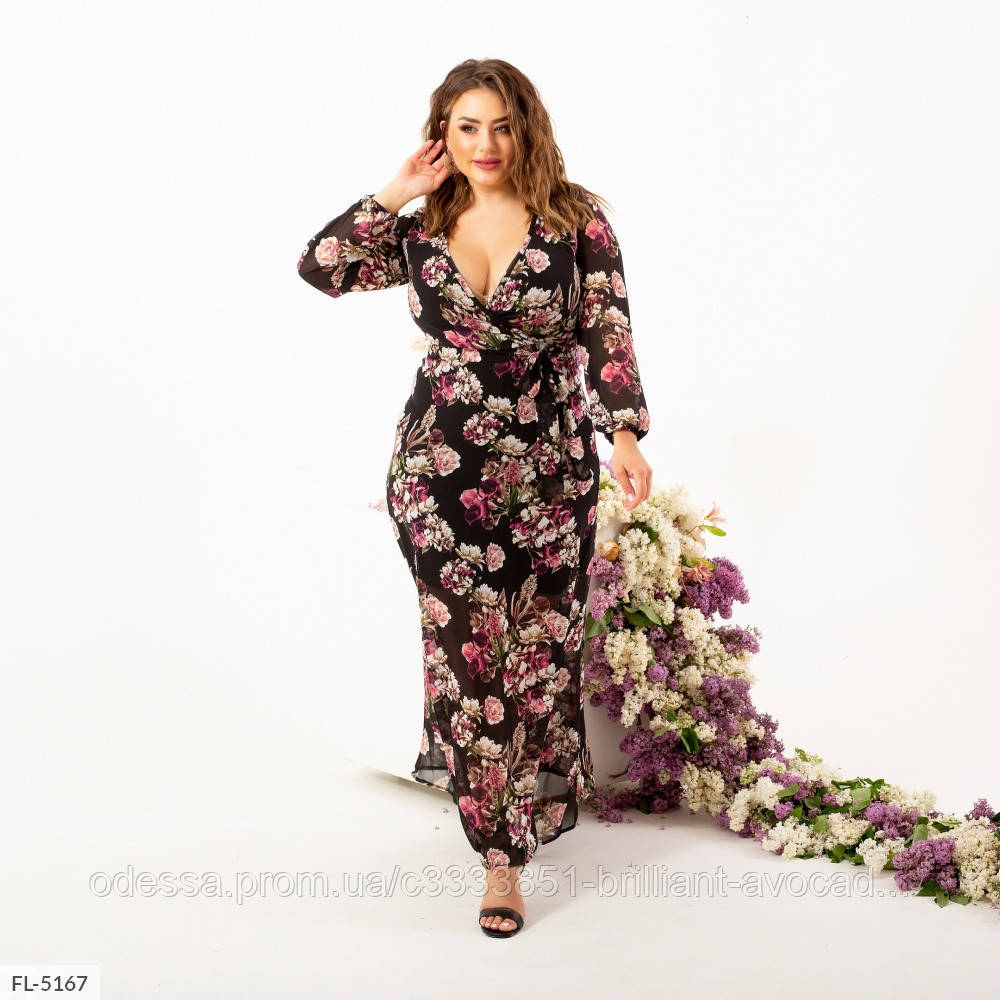 Жіноче красиве літнє вечірнє шифонова сукня батальне з імітацією запаху, розмір 50 52 54 56 58 60