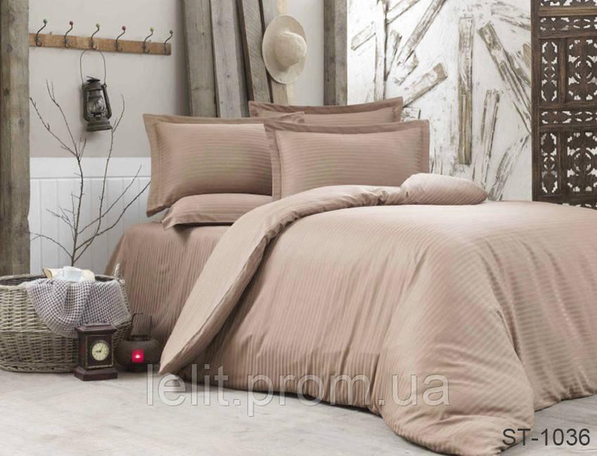 Евро-Макси комплект постельного белья Страйп-Сатин LUXURY ST-1036