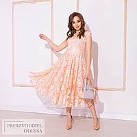 Шикарне вечірнє ніжно-персиковий приталене мереживне плаття з пишною спідницею р. 42-46. Арт-4951/34, фото 1