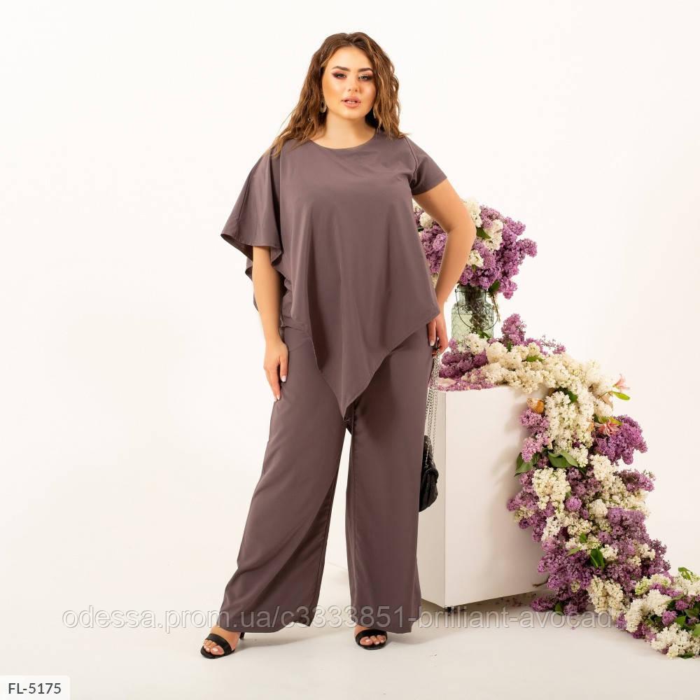 Женский модный брючный костюм, свободная блузка и брюки клеш, большой размер 50 52 54 56 58 60