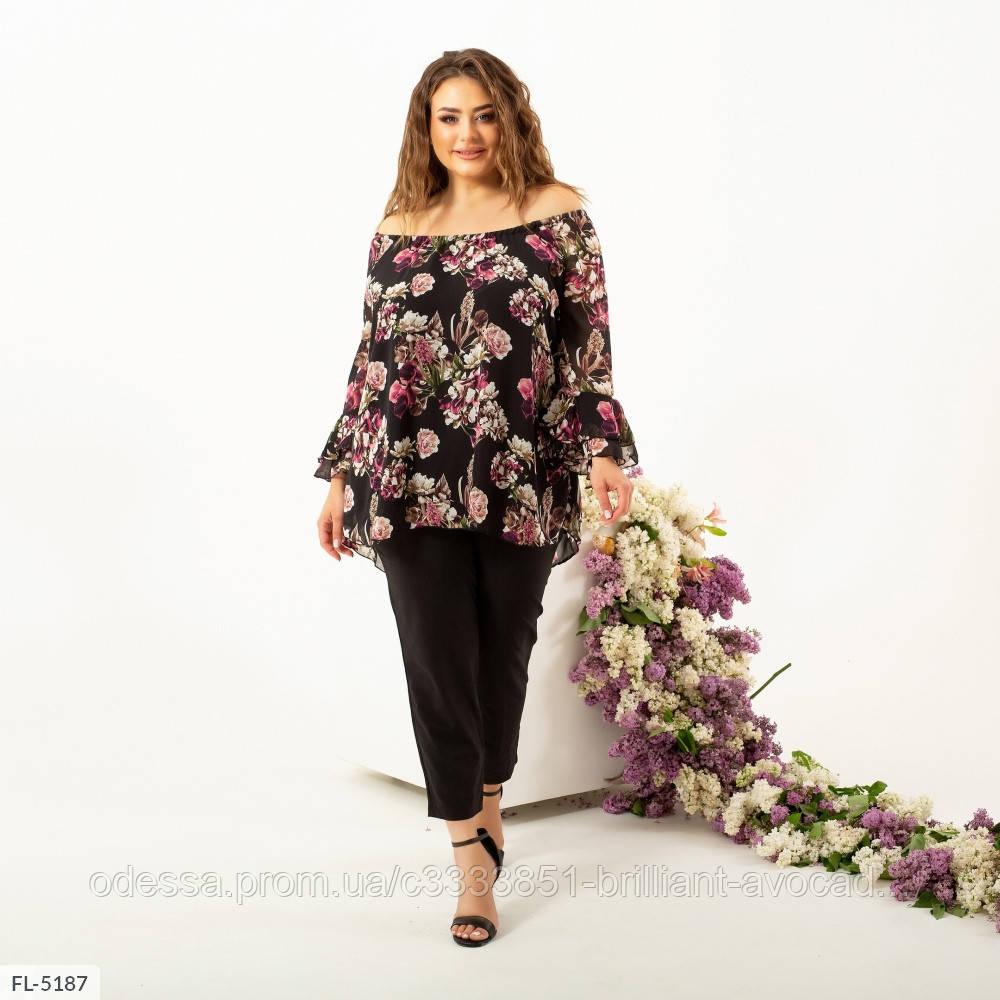 Женская нарядная цветочная блузка большого размера в цветочный принт с открытыми плечами 50 52 54 56 58 60
