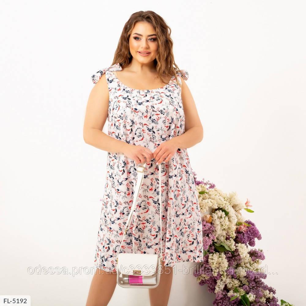 Женское летнее легкое батальное платье по колено с завязками, большой размер! 50 52 54 56 58 60