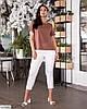 Жіночий брючний базовий батальний костюм двійка (штани і блузка) великий розмір 48 50 52 54 56 58 60 62, фото 3