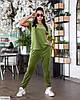 Жіночий стильний велюровий спортивний-прогулянковий костюм у великому розмірі батальний, фото 5