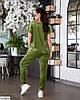 Жіночий стильний велюровий спортивний-прогулянковий костюм у великому розмірі батальний, фото 6