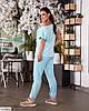 Жіночий стильний велюровий спортивний-прогулянковий костюм у великому розмірі батальний, фото 4