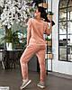 Жіночий стильний велюровий спортивний-прогулянковий костюм у великому розмірі батальний, фото 2