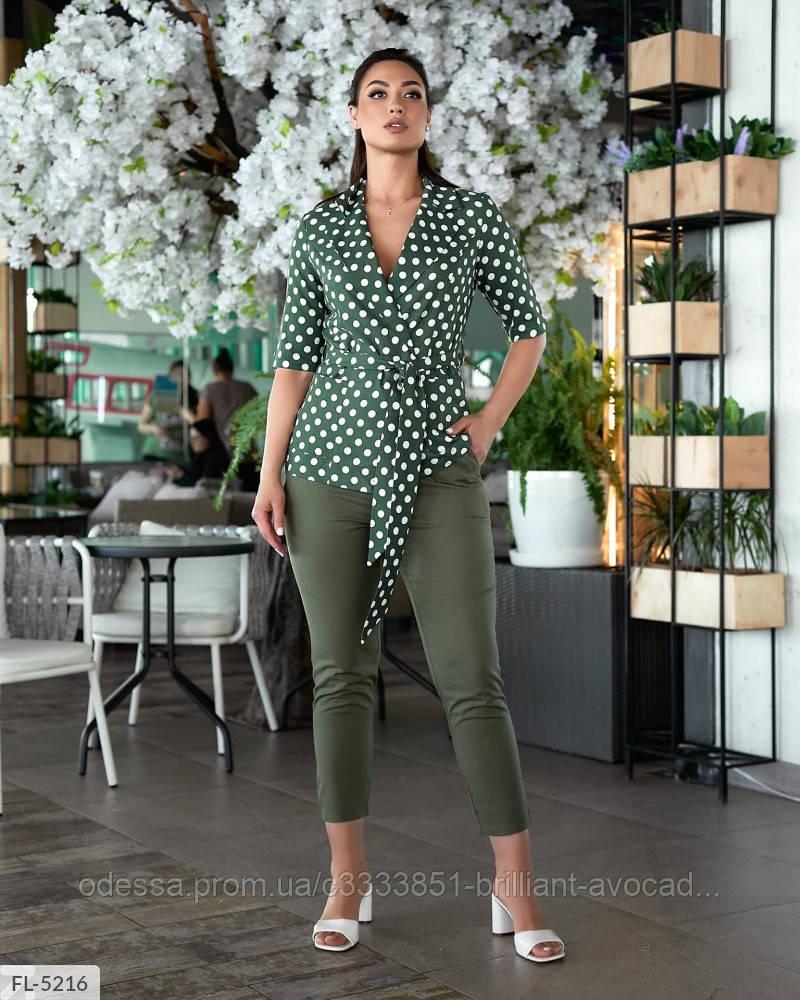 Женский модный льняной батальный брючный костюм двойка (блузка в горох и брюки) размер 48 50 52 54 56 58 60 62