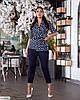 Женский модный льняной батальный брючный костюм двойка (блузка в горох и брюки) размер 48 50 52 54 56 58 60 62, фото 6
