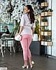 Женский модный льняной батальный брючный костюм двойка (блузка в горох и брюки) размер 48 50 52 54 56 58 60 62, фото 7