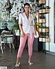 Жіночий модний лляної батальний брючний костюм двійка (блузка в горох і штани) розмір 48 50 52 54 56 58 60 62, фото 8