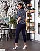Жіночий модний лляної батальний брючний костюм двійка (блузка в горох і штани) розмір 48 50 52 54 56 58 60 62, фото 5