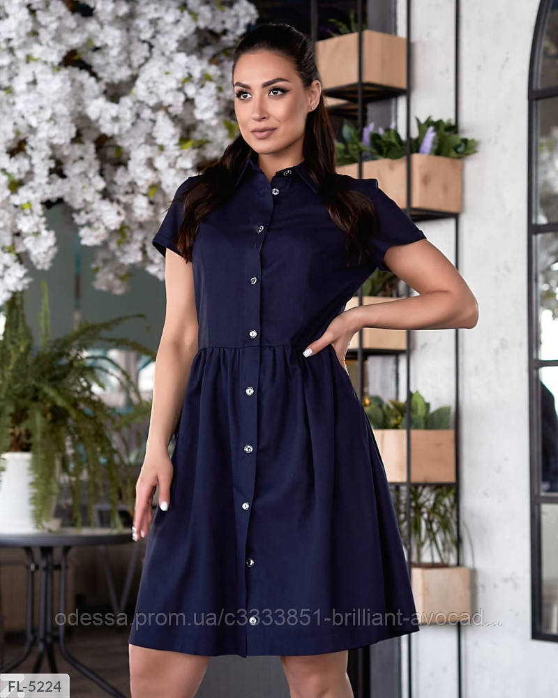 Женское льняное платье рубашка по колено батальное большой размер 48 50 52 54 56 58 60 62
