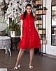 Жіноче лляне плаття сорочка по коліно батальне великий розмір 48 50 52 54 56 58 60 62, фото 5