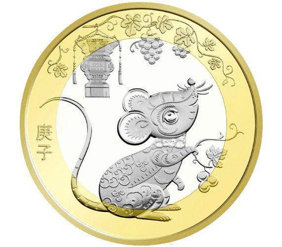Монета 10 юань 2020 Китай Рік щура
