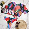 Купальник тройка - завышенные плавки, лиф и кофточка на завязке впереди, фото 4