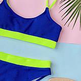 Женский эффектный купальник  в рубчик с высокими плавками, фото 4