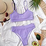 Женский эффектный купальник  в рубчик с высокими плавками, фото 8