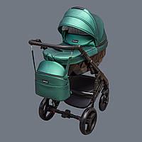 Детская коляска 2 в 1 Richmond Crystal зелёный перламутр 100% кожа