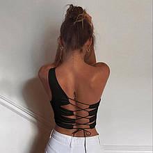 Необычный женский топ со  шнуровкой на спине - черный, белый