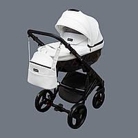 Детская коляска 2 в 1 Richmond Crystal 100% кожа (белый - черный)
