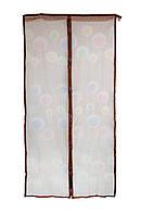 Москитная сетка на дверь на магнитах коричневая с рисунком 210х100см, сетка от комаров на магнитах