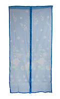 Антимоскитная сетка на дверь на магнитах синяя с рисунком 210х100см, сетка от мух на двери   сітка на магнітах