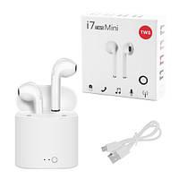 Бездротові Bluetooth навушники i7 mini TWS Stereo з боксом для зарядки. Колір білий