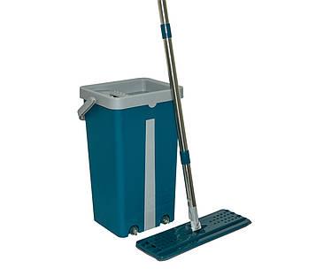 Швабра з відром з віджимом Scratch Mop синьо-сіре 39х23х19 см, плоска швабра з відром   швабра з відром (SV)
