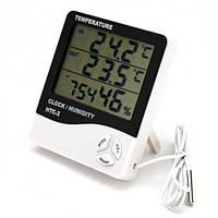 Термометр-гігрометр HTC-2 з годинником і виносним датчиком температури