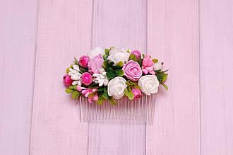Гребень заколка / украшение /  гребешки для волос в прическу с цветами и зеленью бело-розовый