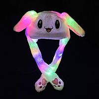 Карнавальна шапка з підсвічуванням: білий зайчик з піднімаються вухами