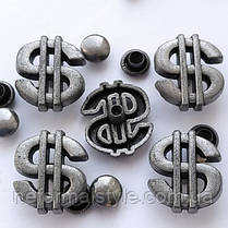 """Заклепка """"Доллар"""" 13x15мм, под античное серебро,для декора и украшения курток, сумок, браслетов.DIY, фото 2"""