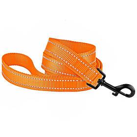 Поводок для собак капроновый со светоотражением оранжевый 20мм/152см Bronzedog Active (61Т/1304)