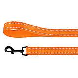 Поводок для собак капроновый со светоотражением оранжевый 16мм/152см Bronzedog Active (60Т/1304), фото 3