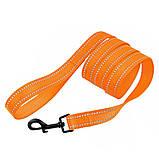 Поводок для собак капроновый со светоотражением оранжевый 16мм/152см Bronzedog Active (60Т/1304), фото 2
