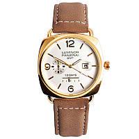 Годинник наручний Panerai White ремінець коричневий (репліка)