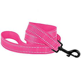 Поводок для собак капроновый со светоотражением розовый 16мм/152см Bronzedog Active (60/1306)