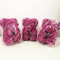 Найкращий подарунок: ведмедик з штучних 3D троянд 25 см. Колір: фіолетовий