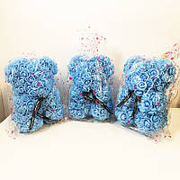 Кращий подарунок: ведмедик з штучних 3D троянд 25 см. Колір: блакитний