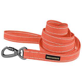 Поводок для собак ТМ BronzeDog брезент с карабином на замке длина 200см ширина 20мм ОРАНЖЕВЫЙ