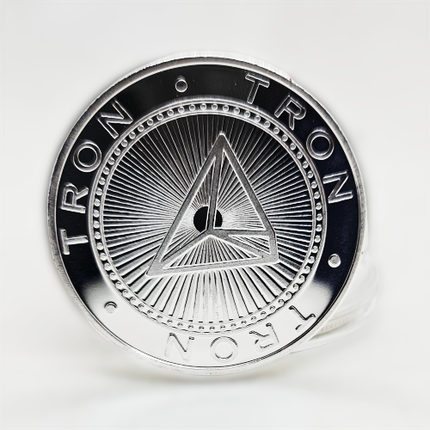 Сувенірна Монета TRON (TRN) срібного кольору., фото 2