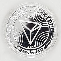 Сувенірна Монета TRON (TRN) срібного кольору., фото 3